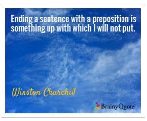 Winston Churchill, grammar, prepositions