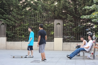 Skateboarding with locals in Barcelona