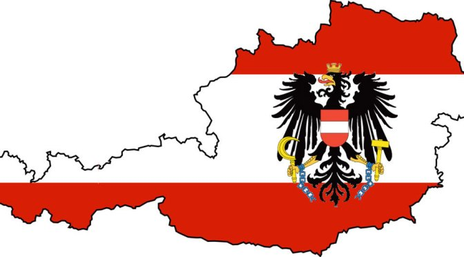Austrian Flag and Map of Austria